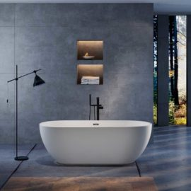 Ванна акриловая Vincea VBT-103, 1800*840*580, цвет белый, слив-перелив в комплекте, хром