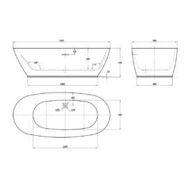 Ванна акриловая Vincea VBT-104, 1700*750*580, цвет белый, слив-перелив в комплекте, хром