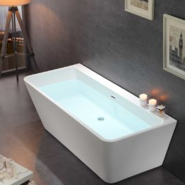 Ванна акриловая Vincea VBT-105, 1700*750*590, цвет белый, слив-перелив в комплекте, хром
