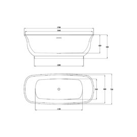 Ванна акриловая Vincea VBT-114, 1700*750*580, цвет белый, слив-перелив в комплекте, хром