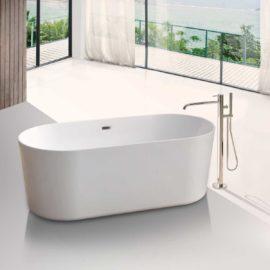 Ванна акриловая Vincea VBT-115, 1700*750*580, цвет белый, слив-перелив в комплекте, хром