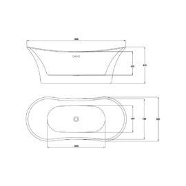 Ванна акриловая Vincea VBT-122, 1800*800*670, цвет белый, слив-перелив в комплекте, хром