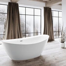 Ванна акриловая Vincea VBT-203, 1800*850*650, цвет белый, слив-перелив в комплекте, хром