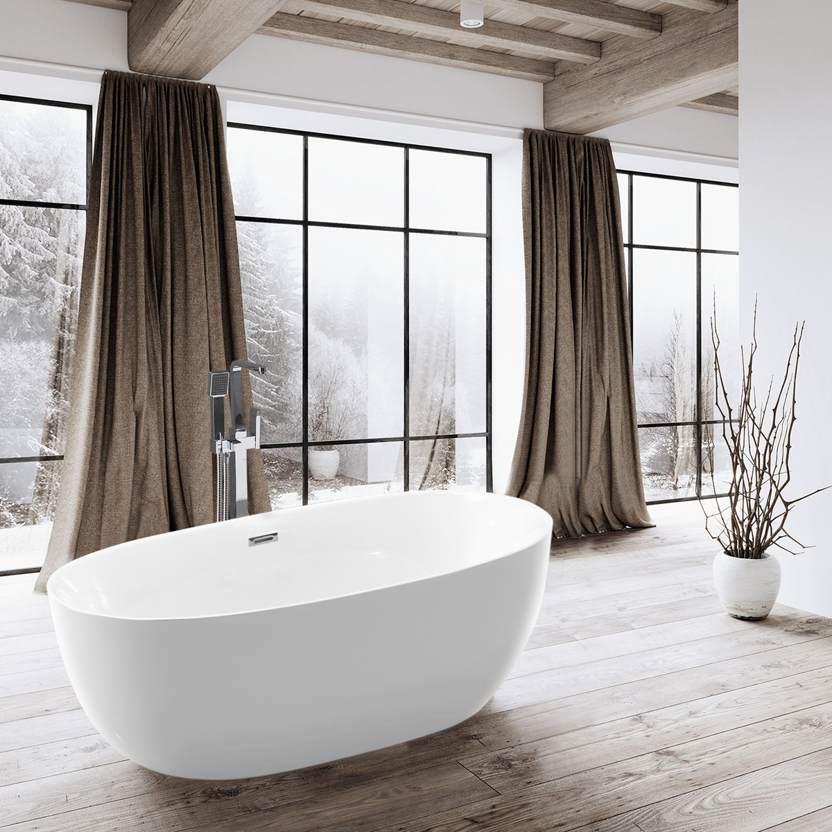 Ванна акриловая Vincea VBT-206, 1600*800*580, цвет белый, слив-перелив в комплекте, хром