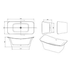 Ванна акриловая Vincea VBT-208, 1700*800*650, цвет белый, слив-перелив в комплекте, хром