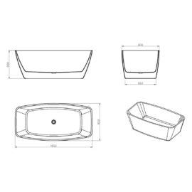 Ванна акриловая Vincea VBT-215, 1650*800*600, цвет белый, слив-перелив в комплекте, хром