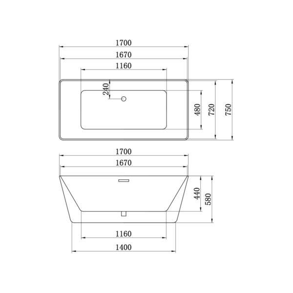 Ванна акриловая Vincea VBT-106