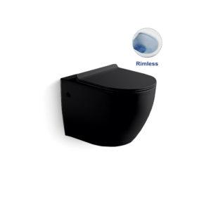 Унитаз подвесной Globo VT1-14MB безободковый, ультратонкое soft-close сиденье, черный матовый