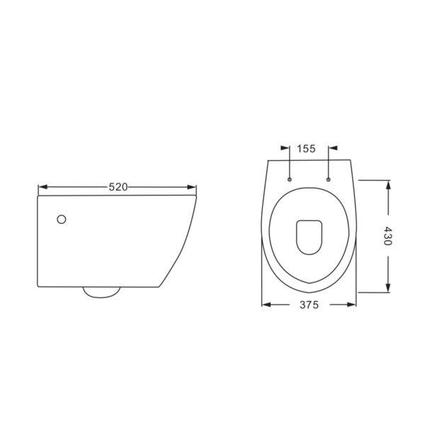 Унитаз подвесной INTERO VT1-21 безободковый , ультратонкое soft-close сиденье