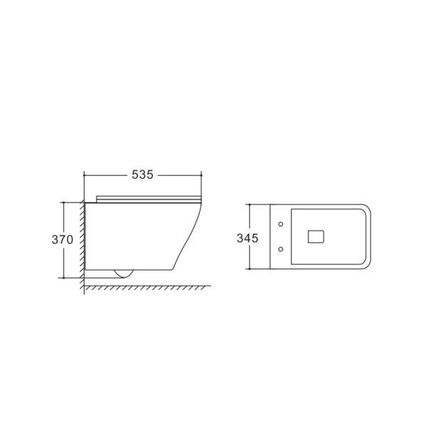 Унитаз подвесной NEO VT1-22 безободковый, белый, ультратонкое soft-close сиденье